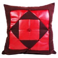 Coussin Patchwork Rouge marron